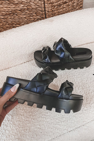 Minding My Business Black Braided Sandal