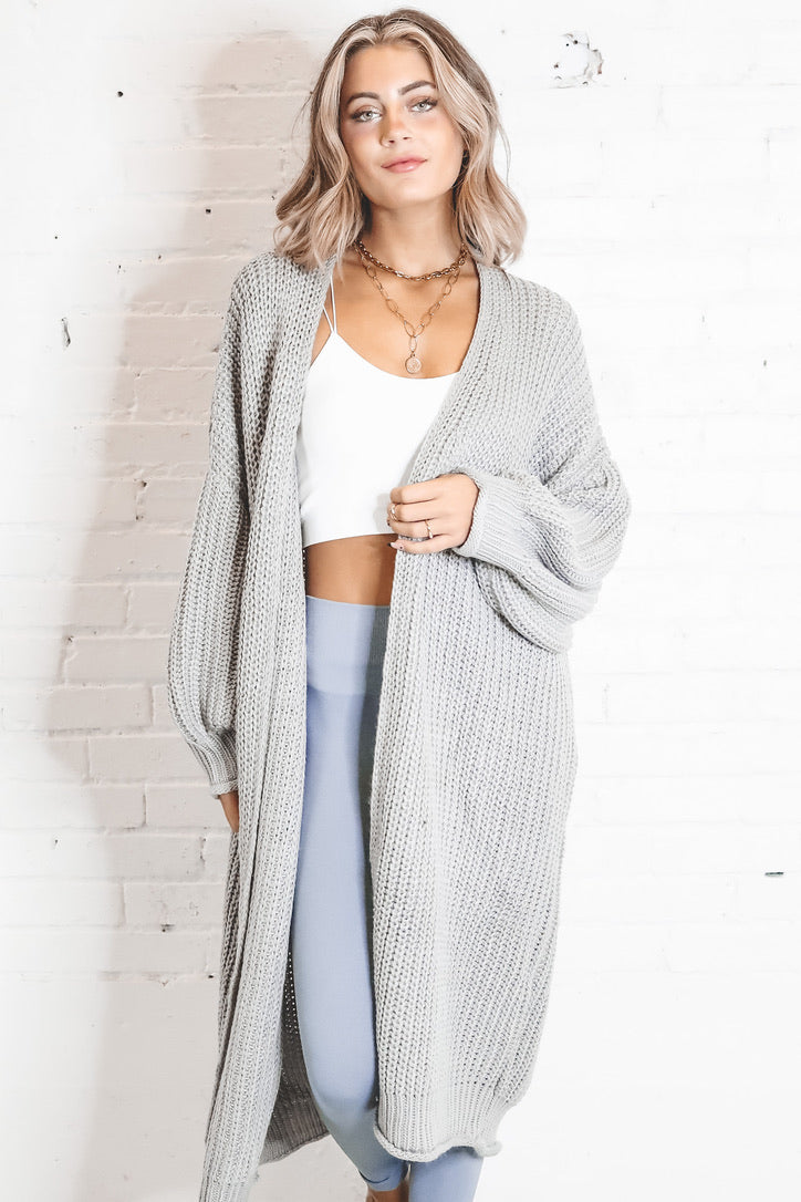 Good To Go Grey Maxi Cardigan