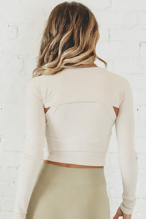 Talk It Out Taupe Long Sleeve Top