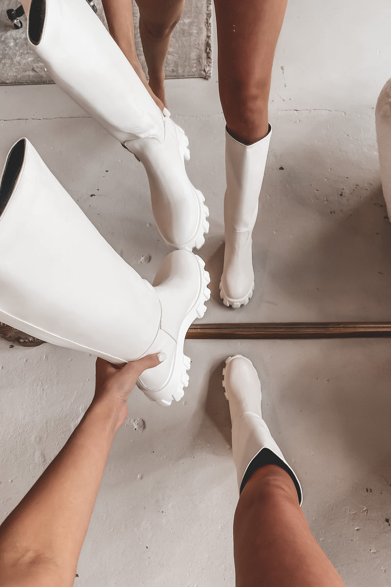 Made For Walking White Platform Boots
