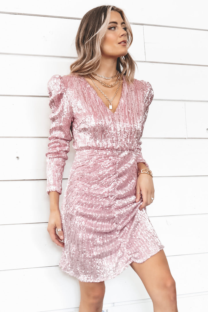 Party Like Us Pink Sequin Dress