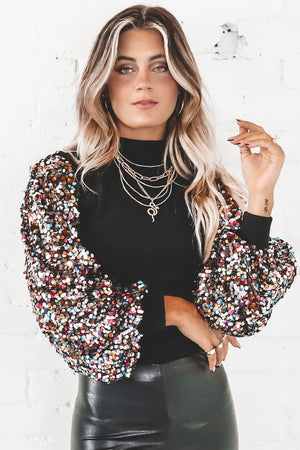 Spice Up Your Life Sequin Sleeve Sweater