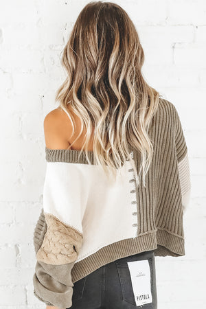 Lost In Each Other Olive And Almond Color Block Sweater