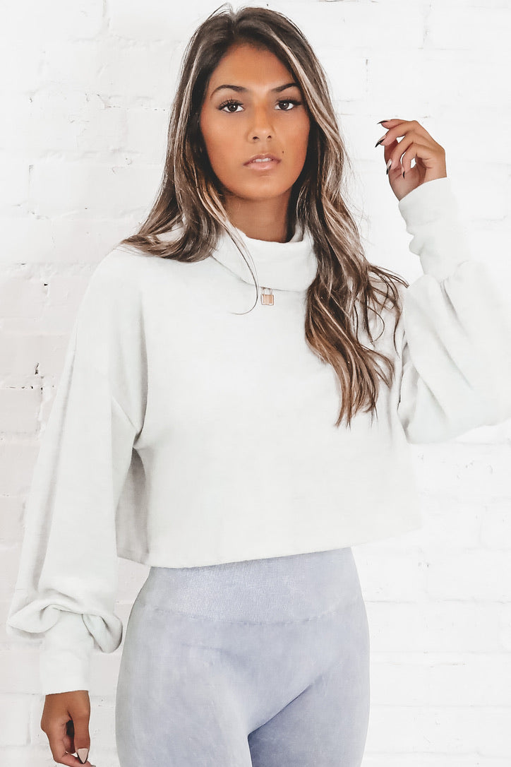 Hey Babe Lightweight Gray Crop Top