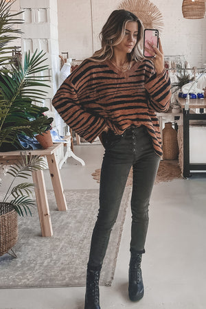 Like A Fine Wine Rust Zebra Print Sweater