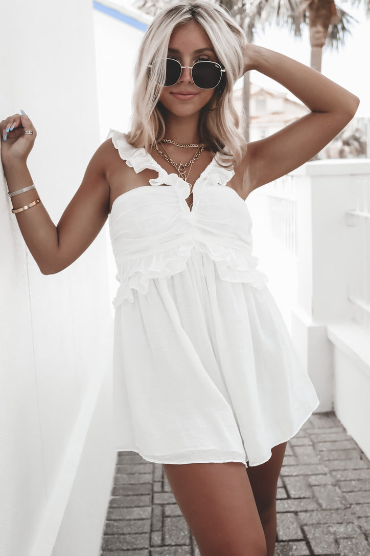 Why Not White Ruffle Romper