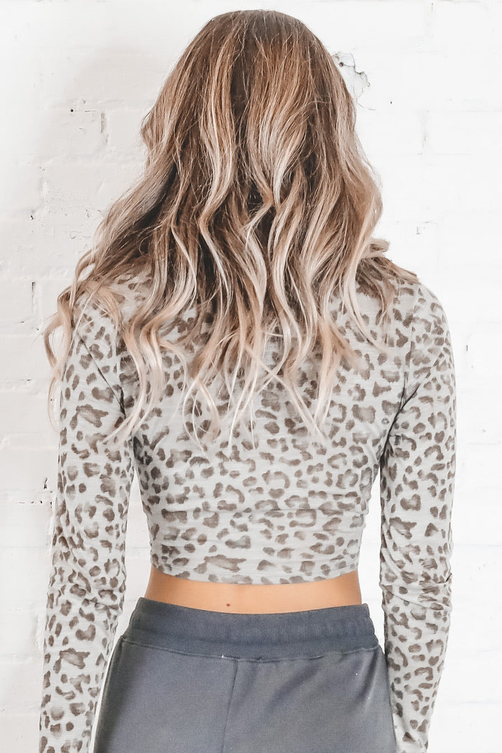 Keep A Secret Olive Cheetah Crop Top