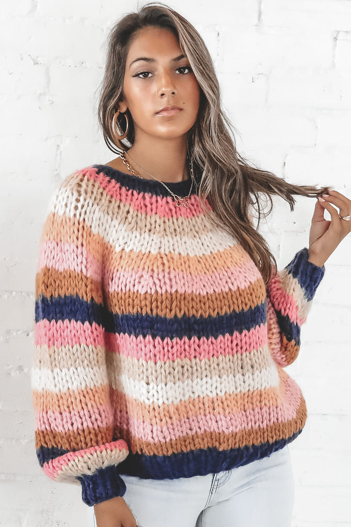 Dancing With A Stranger Multi Color Stripe Sweater