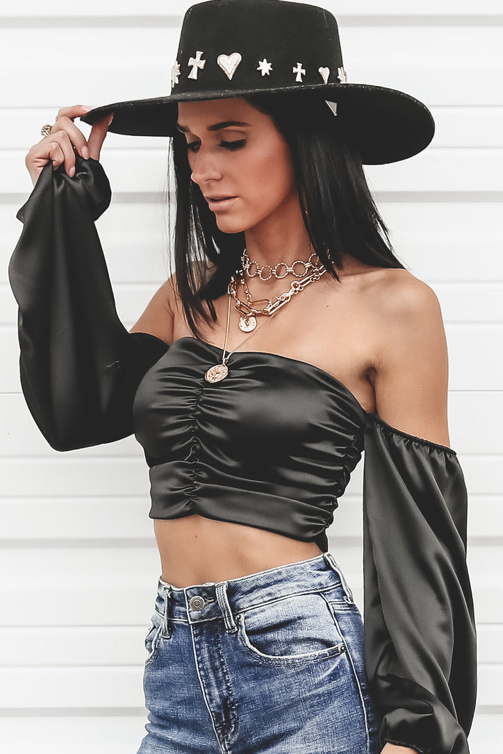 The Heart Wants What It Wants Black Ruched Top