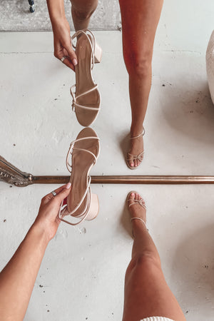 Wonder My Way Nude Block Heels