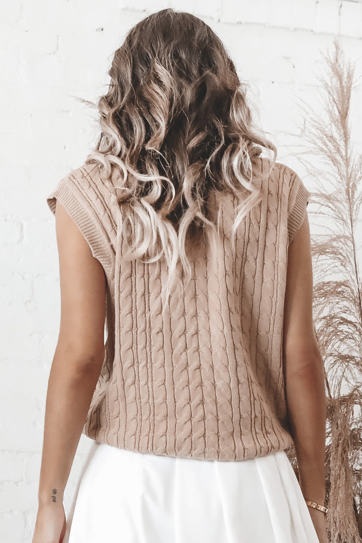 Need A Tan Sleeveless Sweater