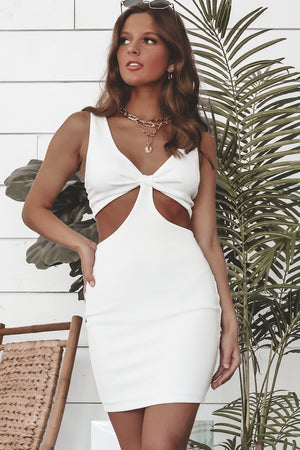 On The Bright Side Off White Cutout Dress