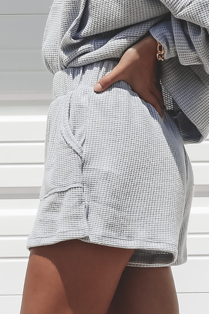 Lazy Sunday Powder Blue Waffle Knit Shorts