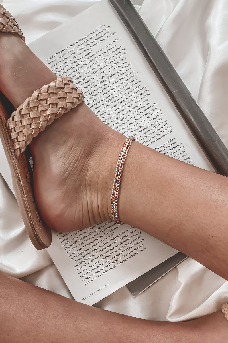 Spicy Beach Gold Double Chain Anklet