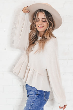 Live In The Moment Cream Ruffle Top