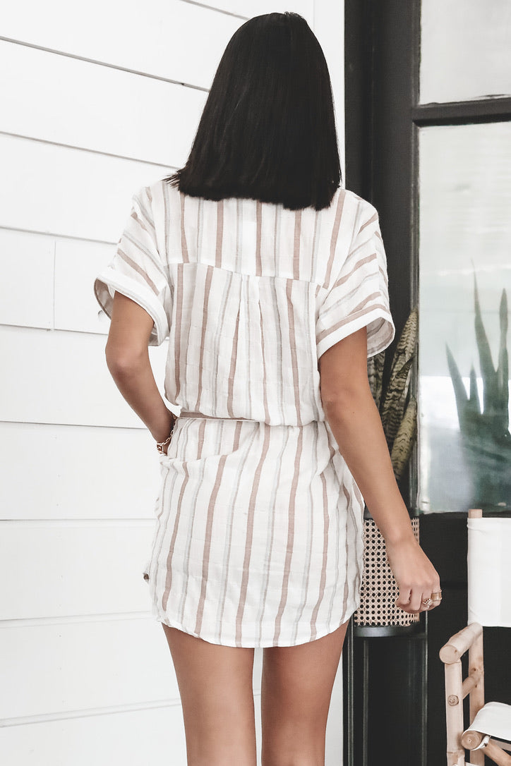 Seaside Stripes Button Down Dress