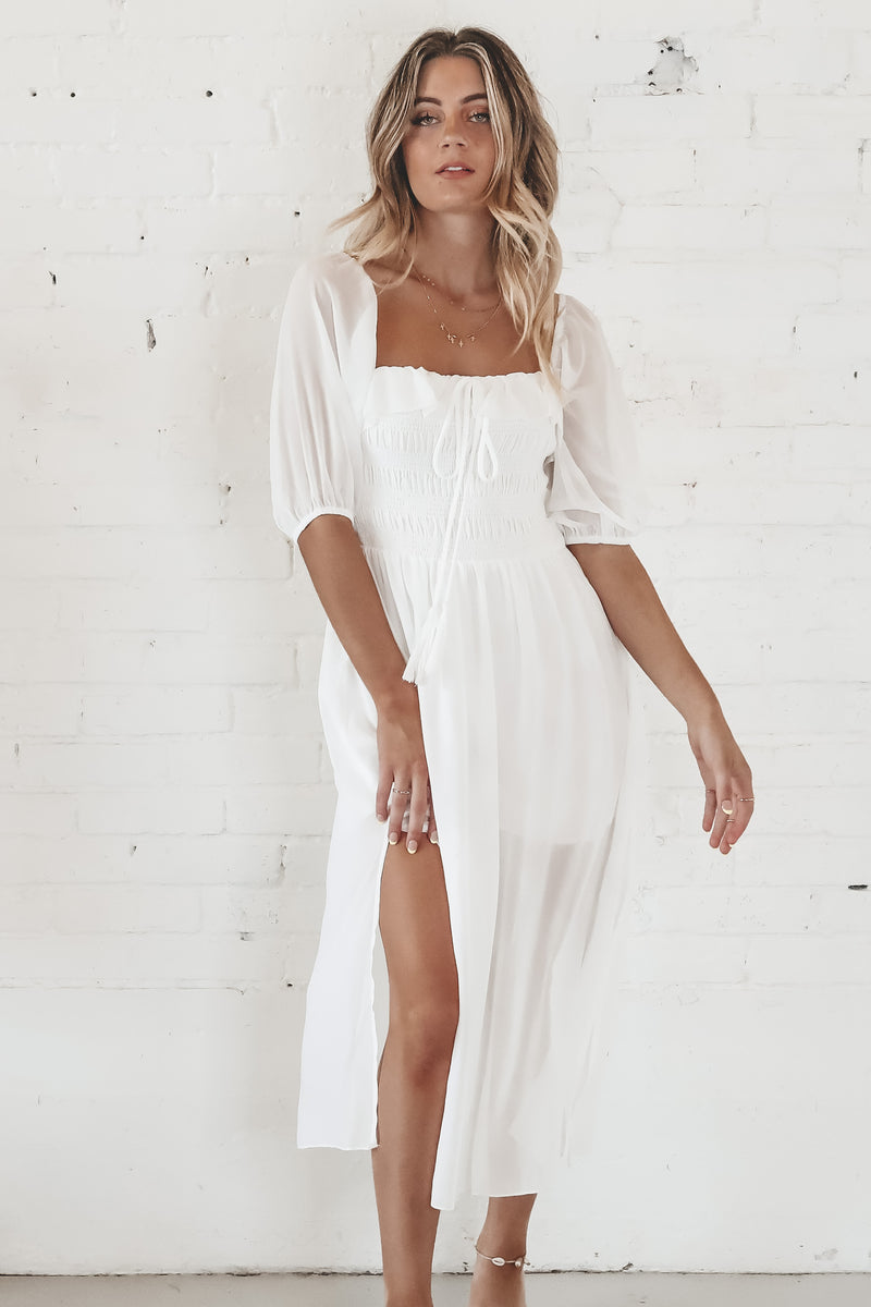 She Said Yes White Midi Dress