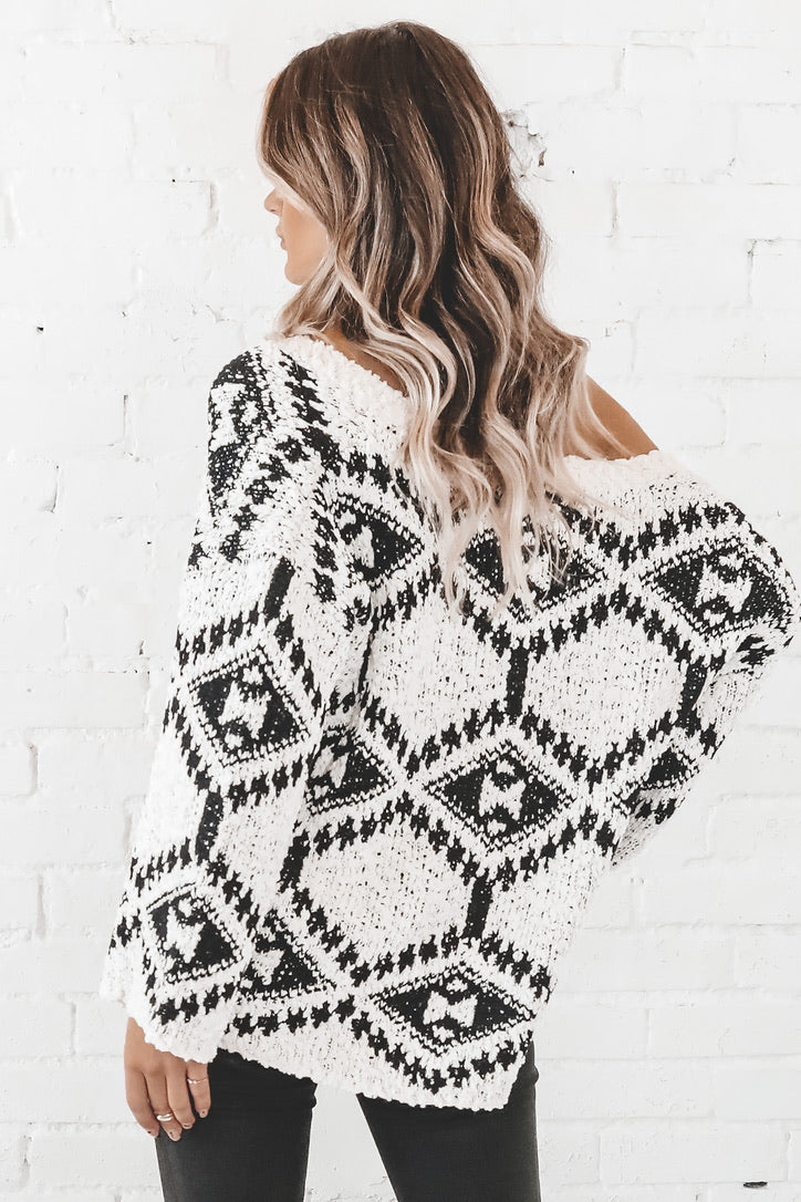 Theme Party Aztec Cream And Black Sweater