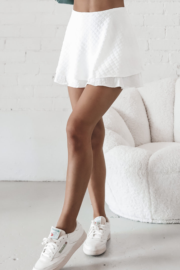 Right Time White Ruffled Mini Skirt