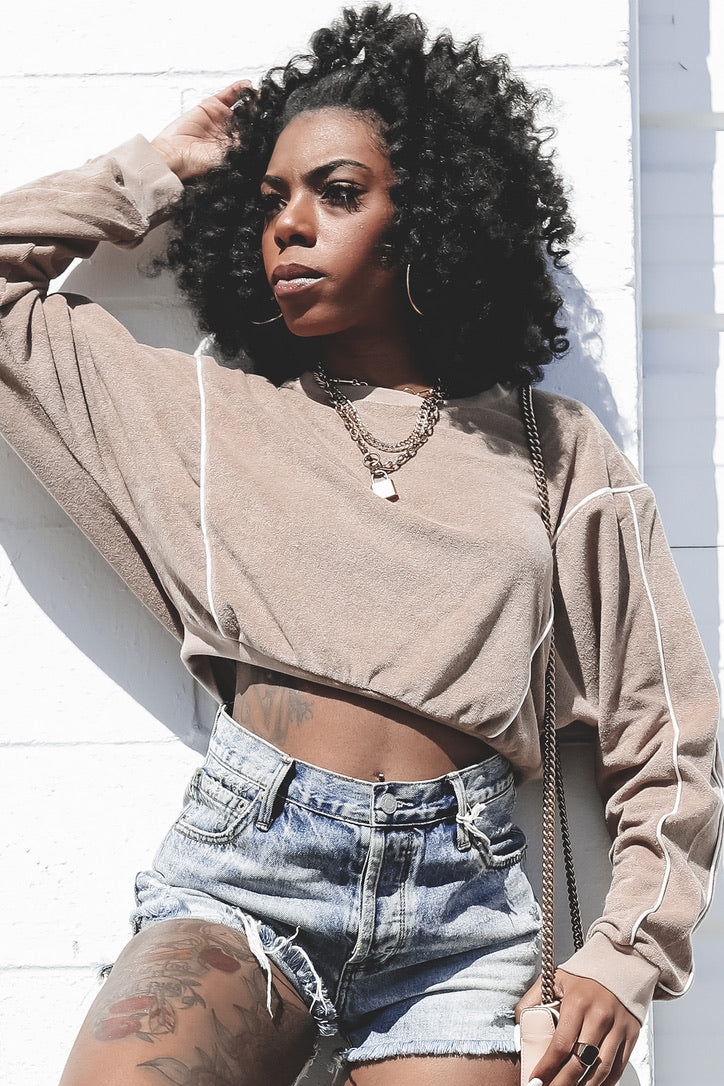 Mocha My Move Cropped Sweater
