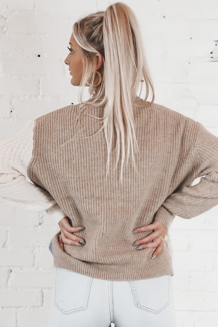 The Finer Things Taupe Color Block Turtleneck Sweater