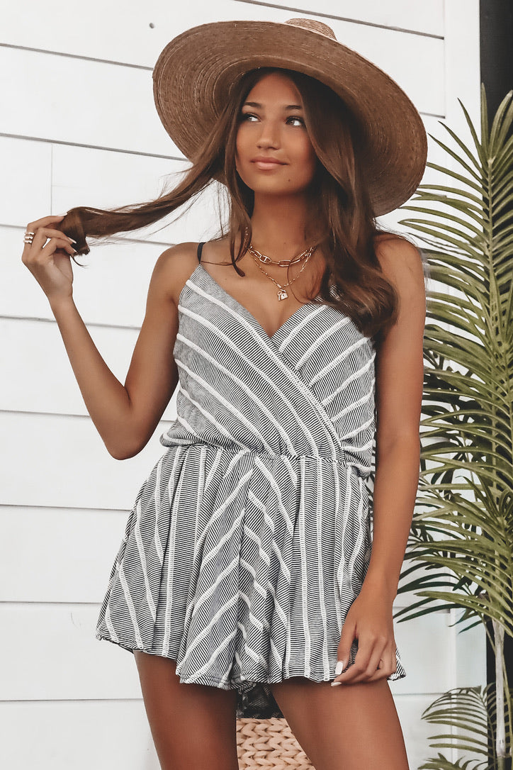 A Cozy Beach Striped Romper