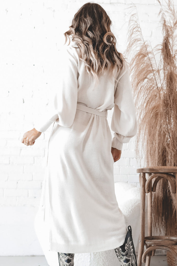 PRETTY LAVISH Cream Beau Wrap Midi Dress