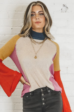 Happy Days Cream Color Block Sweater