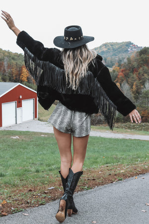 Wine By The Fire Black Fringe Fur Coat