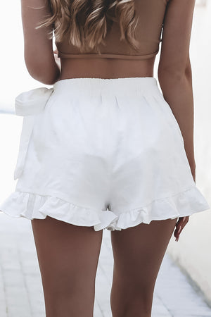 Rules To Live By White Ruffle Wrap Skort