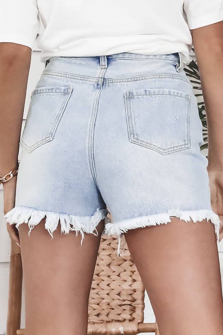 MINKPINK Routine Light Denim Shorts