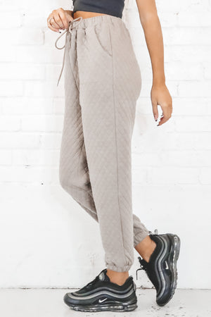 Runnin' Through Your Mind Taupe Quilted Joggers
