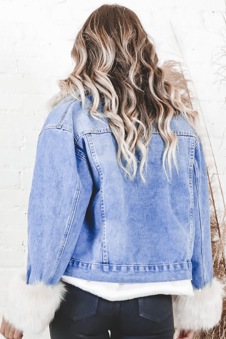 We Are Being Fur Real Denim Jacket