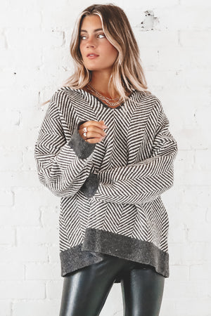 Make Up Your Mind Black And White Herringbone Hoodie Sweater