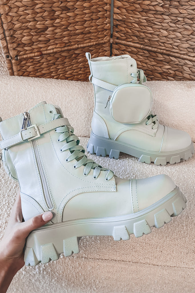 Big Boot Energy Pistachio Lace Up Boots