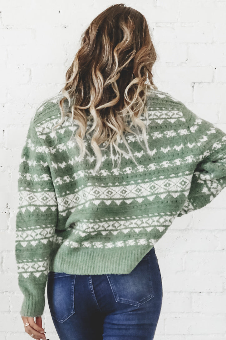 Eggnog And Chill Dusty Olive Sweater