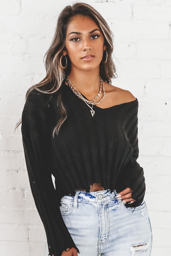 Another Cosmopolitan Please Black V Neck Distressed Sweater