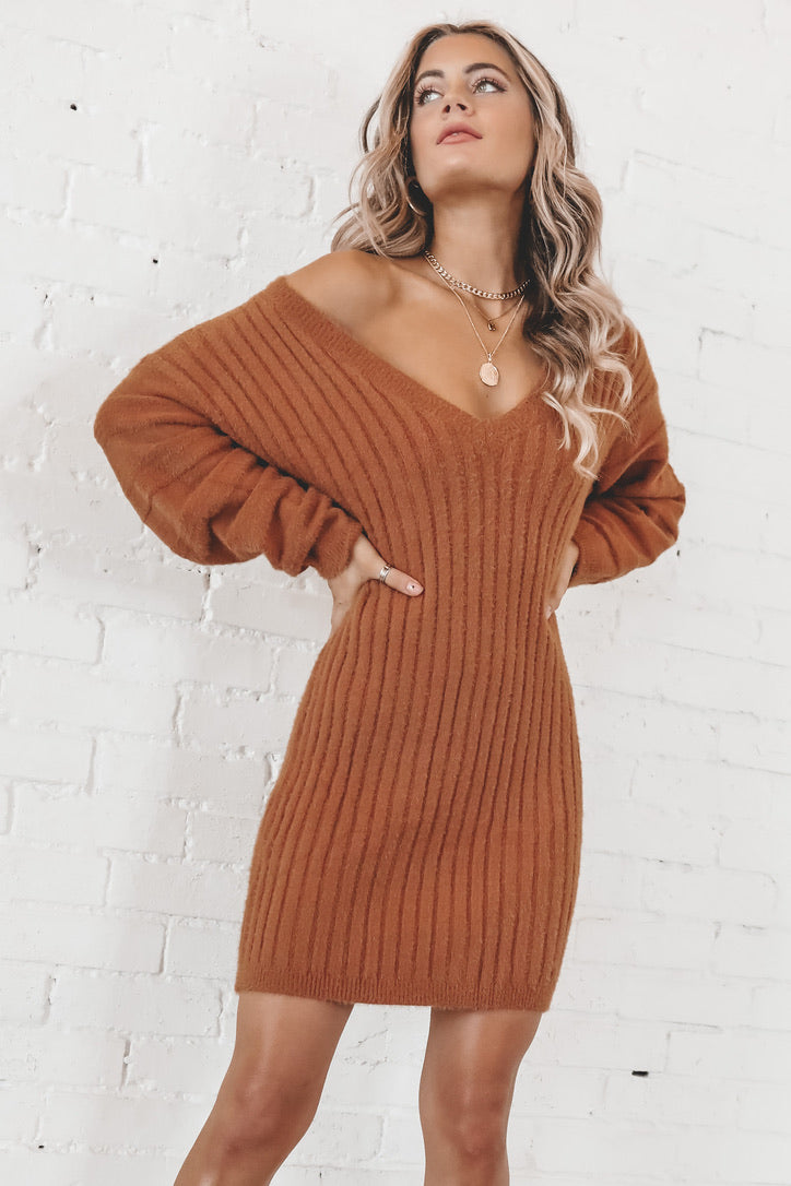 Destined To Be Camel Long Sleeve Ribbed Dress