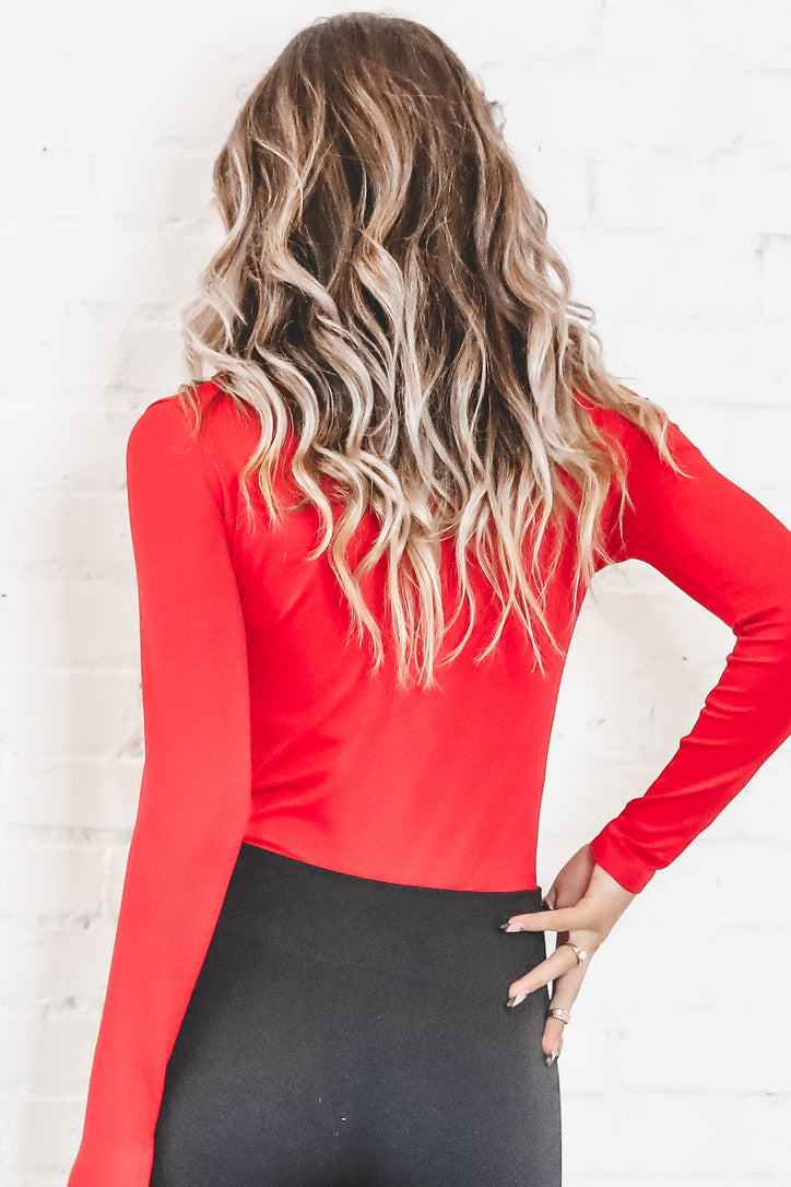 Let's Get Together Red Long Sleeve Ribbed Bodysuit
