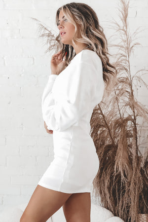 Here Comes The Bride White Long Sleeve Dress