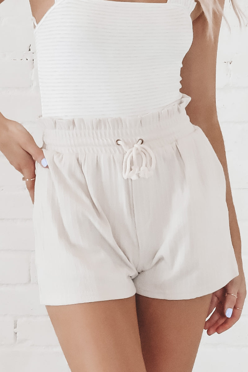 Tie The Knot Taupe Knit Shorts