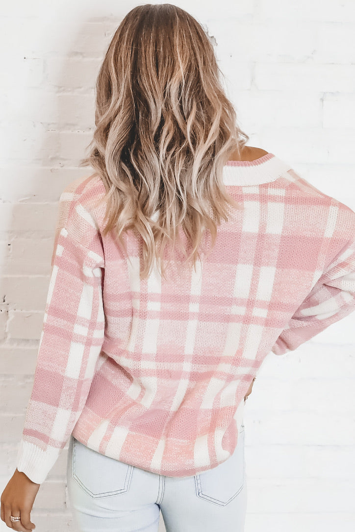 Off The Grid Pink Checkered Sweater