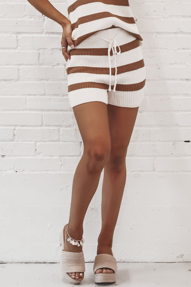 Play The Game Camel Striped Knit Sweater Shorts