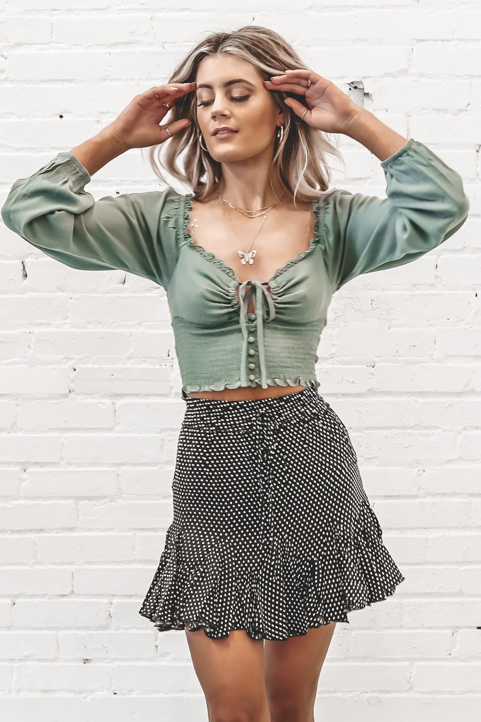 Drive Me Wild Sage Puff Sleeve Crop Top