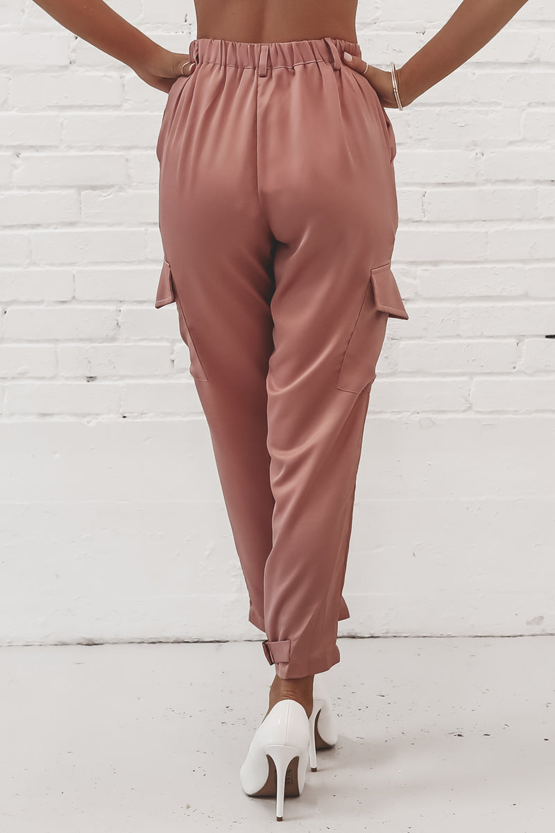 What's Your Number Mauve Satin Cargo Pants