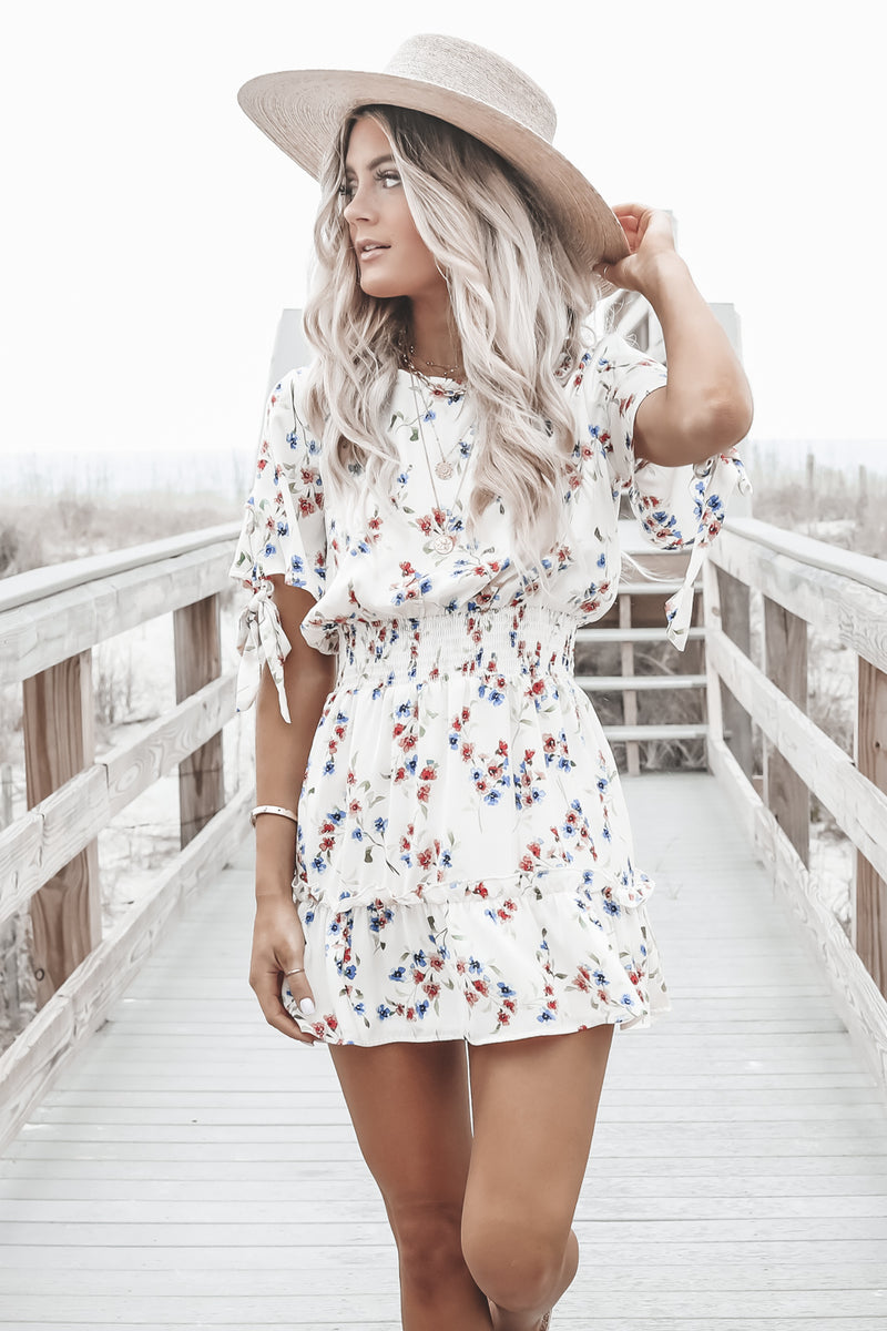 SALTWATER LUXE Newport Mini Dress - Spring Blossom In Vanilla