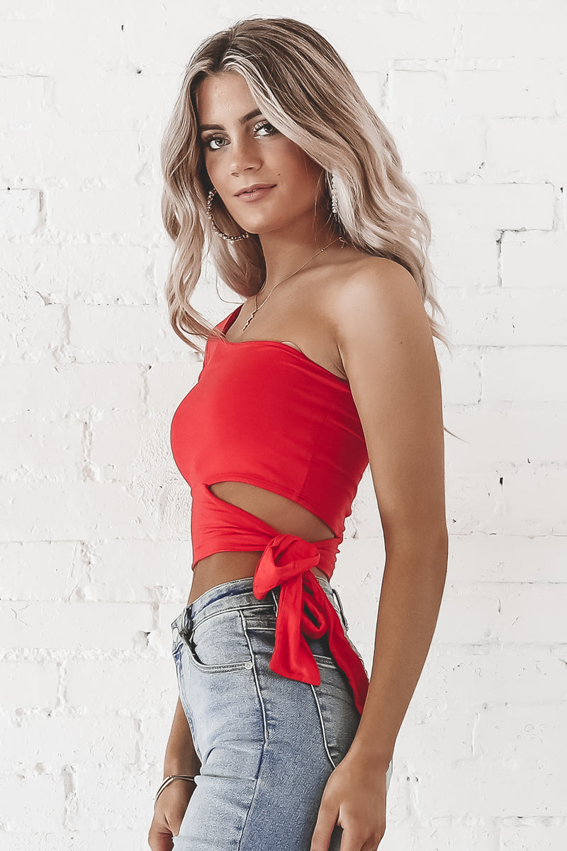 Over And Out One Shoulder Red Tie Top