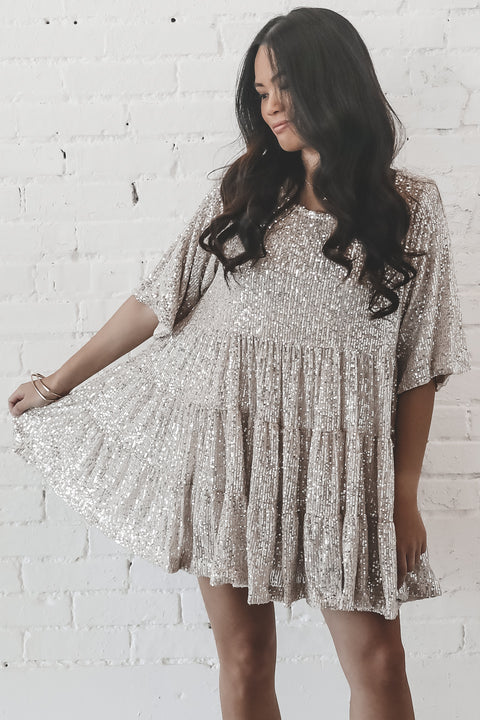 My Queen Champagne Sequin Baby Doll Dress