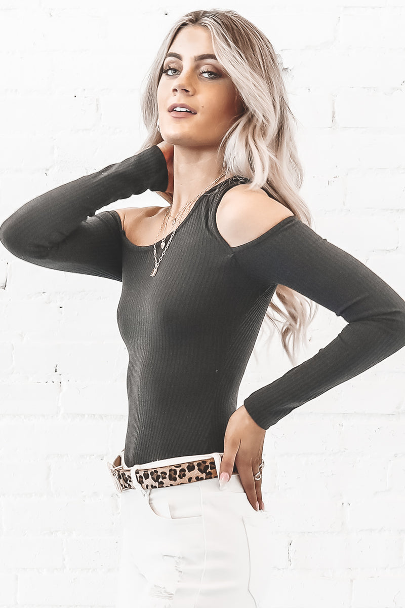 Cut To The Chase One Shoulder Black Bodysuit