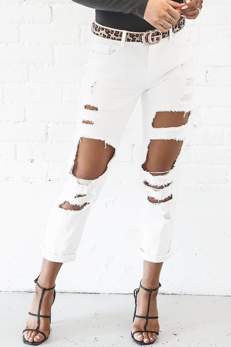 Distressed To Impress White Mid Rise Jeans